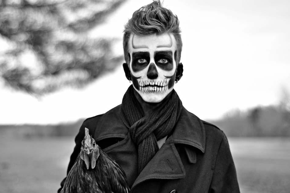 maquillage zombie noir et blanc
